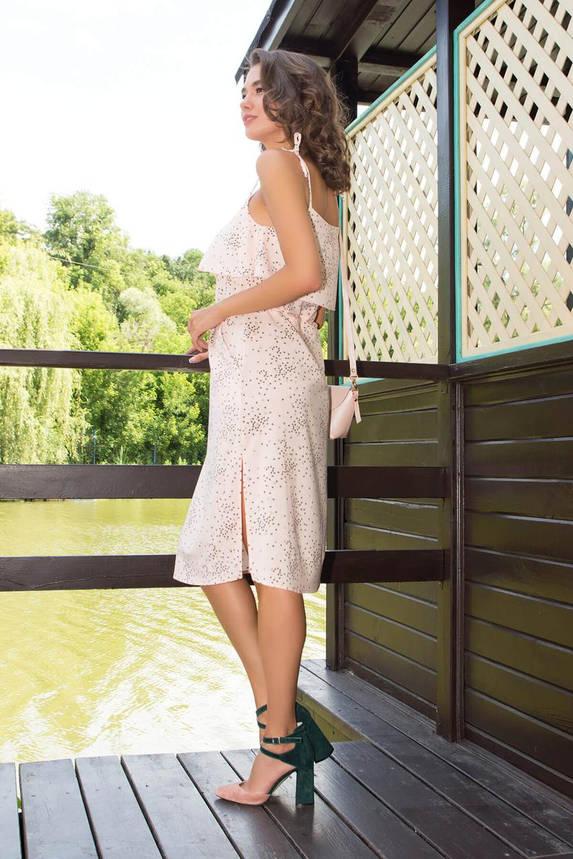Летнее платье-сарафан с принтом персиковое, фото 2