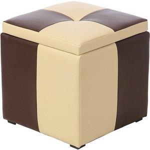 Пуф Рубио-2 с ящиком (коричнево-бежевый),пуфик,пуфики,пуф кожзам,пуф экокожа,банкетка,банкетки,пуф к