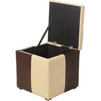 Пуф Рубио-2 с ящиком (коричнево-бежевый),пуфик,пуфики,пуф кожзам,пуф экокожа,банкетка,банкетки,пуф к, фото 3