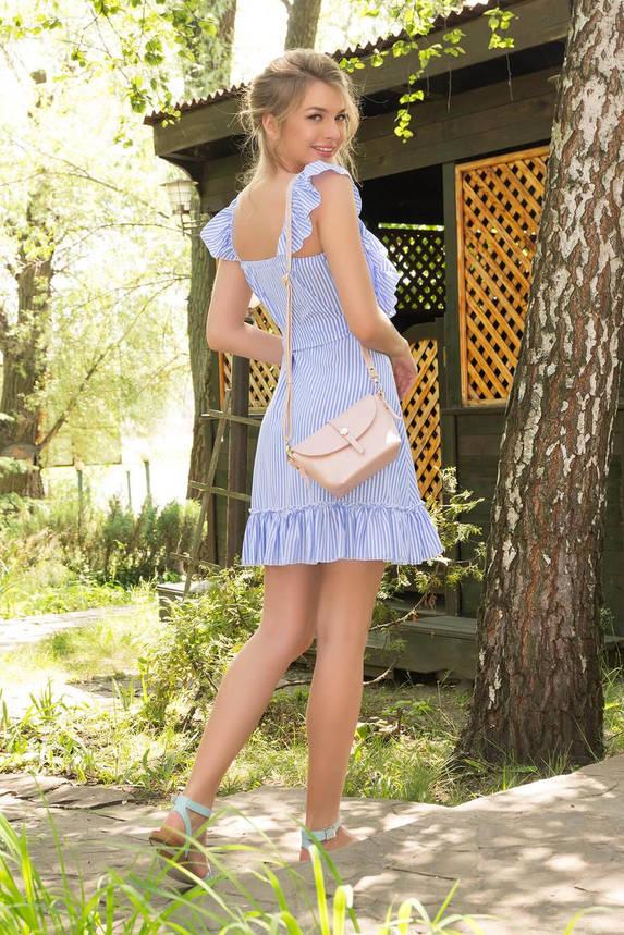 Летнее платье-сарафан короткое в полоску голубое, фото 2