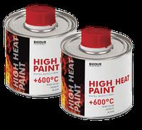 Фарба-емаль жаростійкий (термостійкий) до 600 ° C 200 мл BIODUR Срібляста