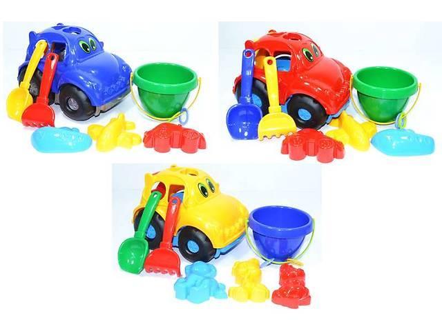 """Сортер машина """"Автошка"""" №3: машина з вкладиами, відерце, лопата, грабелька, 3 пасочки COLORPLAST 0305"""