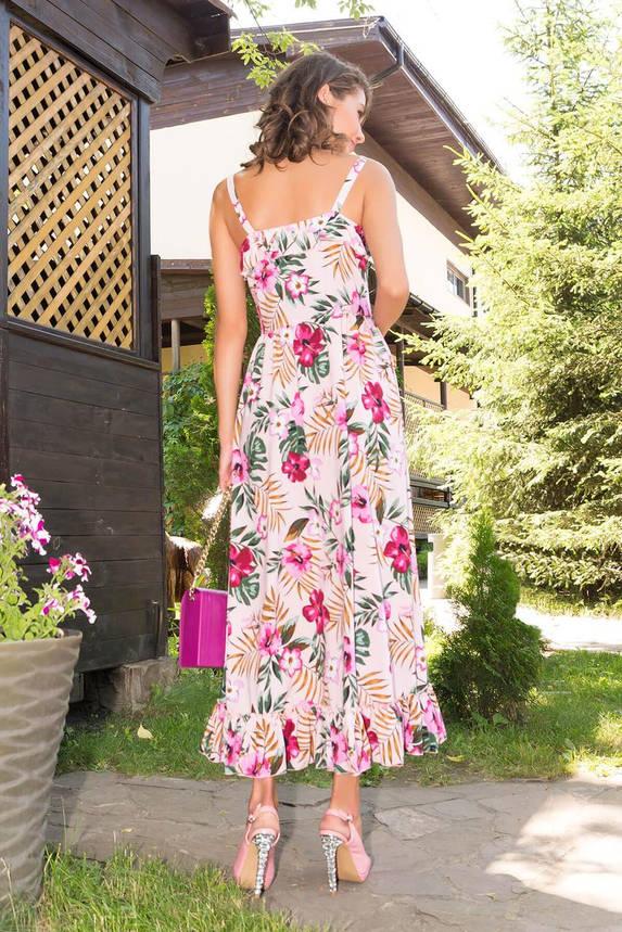 Летнее платье-сарафан длинное с принтом розовое, фото 2