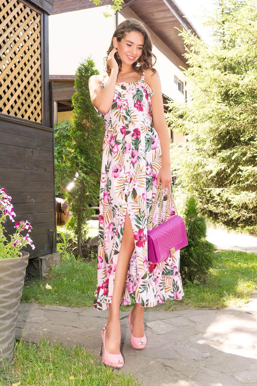 Летнее платье-сарафан длинное с принтом розовое