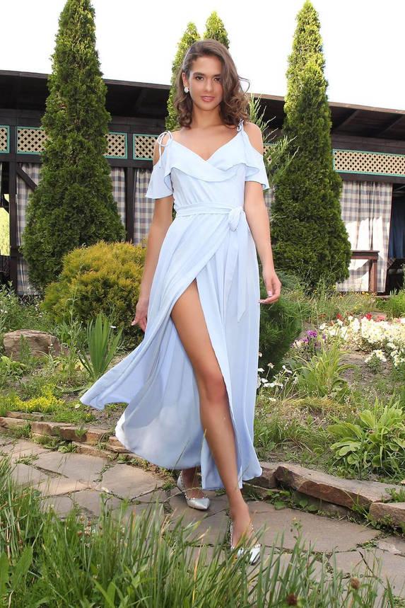 Летнее платье-сарафан длинное голубого цвета, фото 2