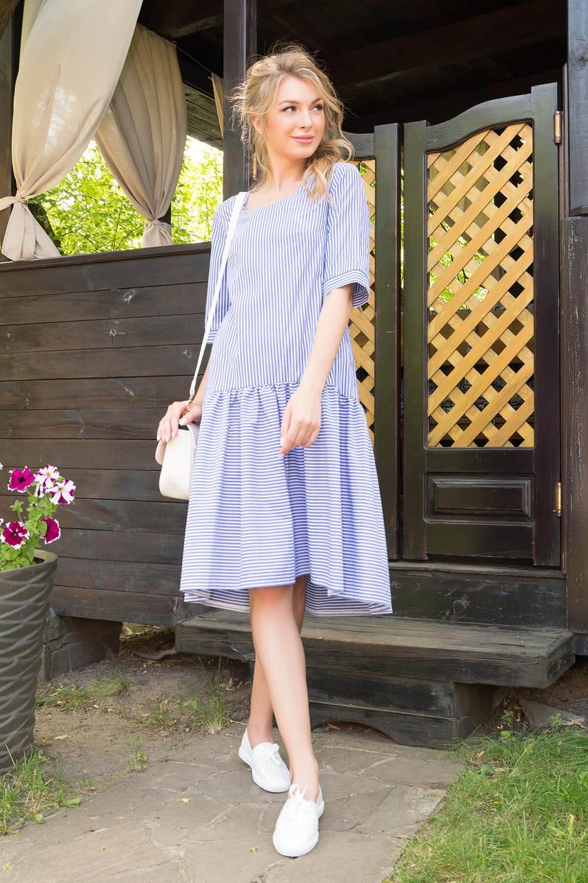 Летнее платье оверсайз в полоску голубое