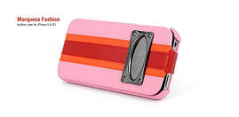 Чехол-книжка для телефона HOCO Marquess fashion leather case iPhone 4&4S, pink
