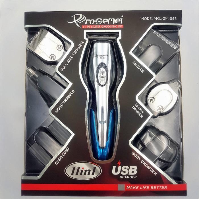 Аккумуляторная машинка для стрижки волос ProGemei GM-562, 11 в 1