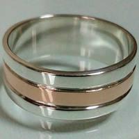 Обручальное кольцо серебряное с золотыми накладками ДК-007