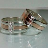 Обручальные кольца серебряные с золотыми накладками с фианитами ДК-006 ДК-007