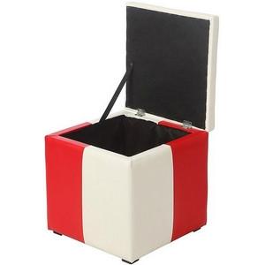 Пуф Рубио-2 с ящиком (красно-белый,пуфик,пуфики,пуф кожзам,пуф экокожа,банкетка,банкетки,пуф куб,пуф