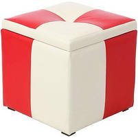 Пуф Рубио-2 с ящиком (красно-белый,пуфик,пуфики,пуф кожзам,пуф экокожа,банкетка,банкетки,пуф куб,пуф, фото 4
