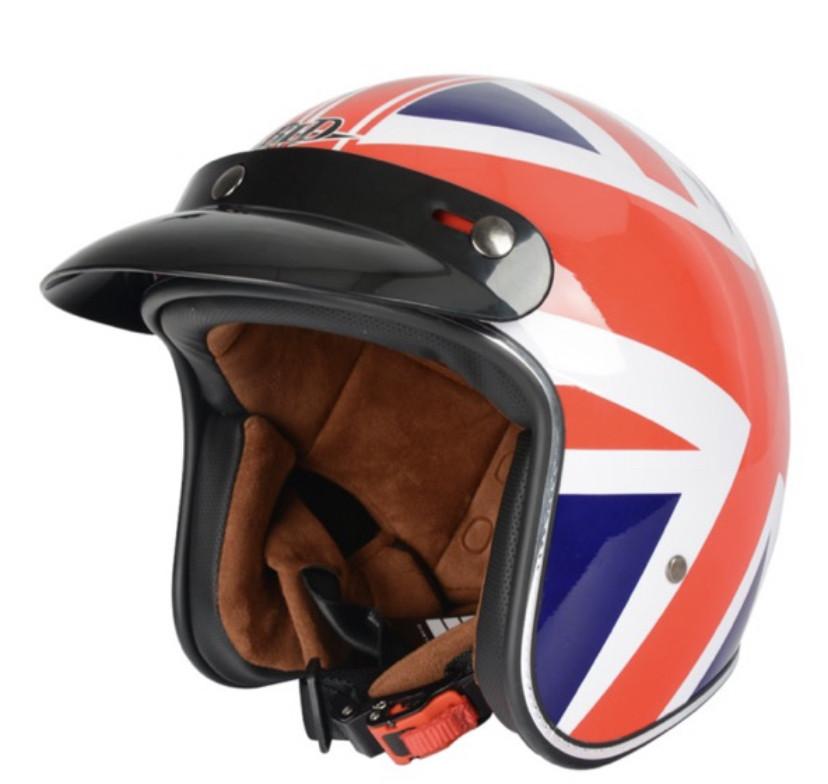 Ретро шлем полулицевик Великобритания козырьком и с бабл визором