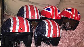 Ретро шлем полулицевик Великобритания козырьком и с бабл визором, фото 2