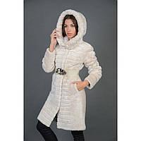 Шуба женская натуральная мутоновая белая с капюшоном