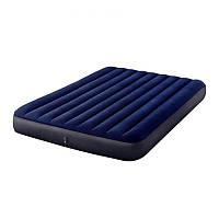 Надувной велюровый матрас Intex 64765, 152х203х25 см, 2 подушки, ножной насос, синий