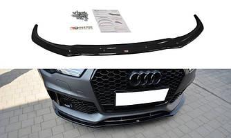 Спліттер Audi RS7 C7 рестайл тюнінг обвіс губа переднього бампера (V1)