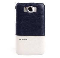 Кожаный чехол-накладка для телефона Nuoku ROYAL luxury leather cover for HTC Sensation XL G21, blue