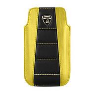 Чехол для телефона Lamborghini Gallardo D1 leather sleeve for iPhone 4, black/yellow
