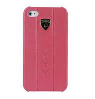 Кожаный чехол-накладка для телефона Lamborghini Performate D1 leather back cover for iPhone 4, pink