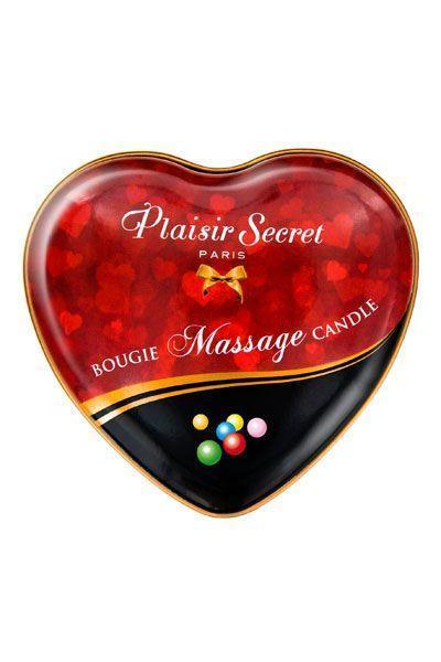 Массажная свеча возбуждающая сердечко Plaisirs Secrets Bubble Gum Жвачка (35 мл). Свечи для массажа