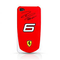 Пластиковый чехол-накладка для телефона Ferrari Scuderia Massa №6 back cover for iPhone 4, red (FESA4G6R)