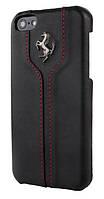 Кожаный чехол-накладка для телефона Ferrari Montecarlo leather cover case for iPhone 5C, black (FEMTHCPMBL)