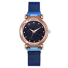Жіночі наручні годинники на магнітній застібці (синій ремінець)