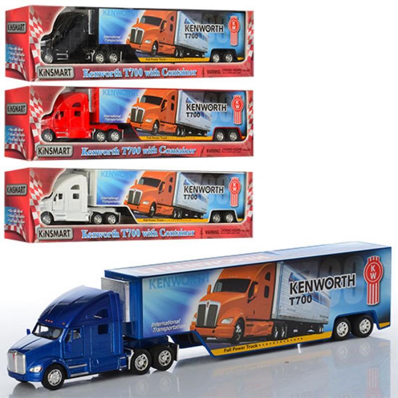 Автомодель Kinsmart Kenworth T700 w/ container 1:68 (KT1302W), трейлер, 4 кольори, в коробці, 34-8,5-6 см