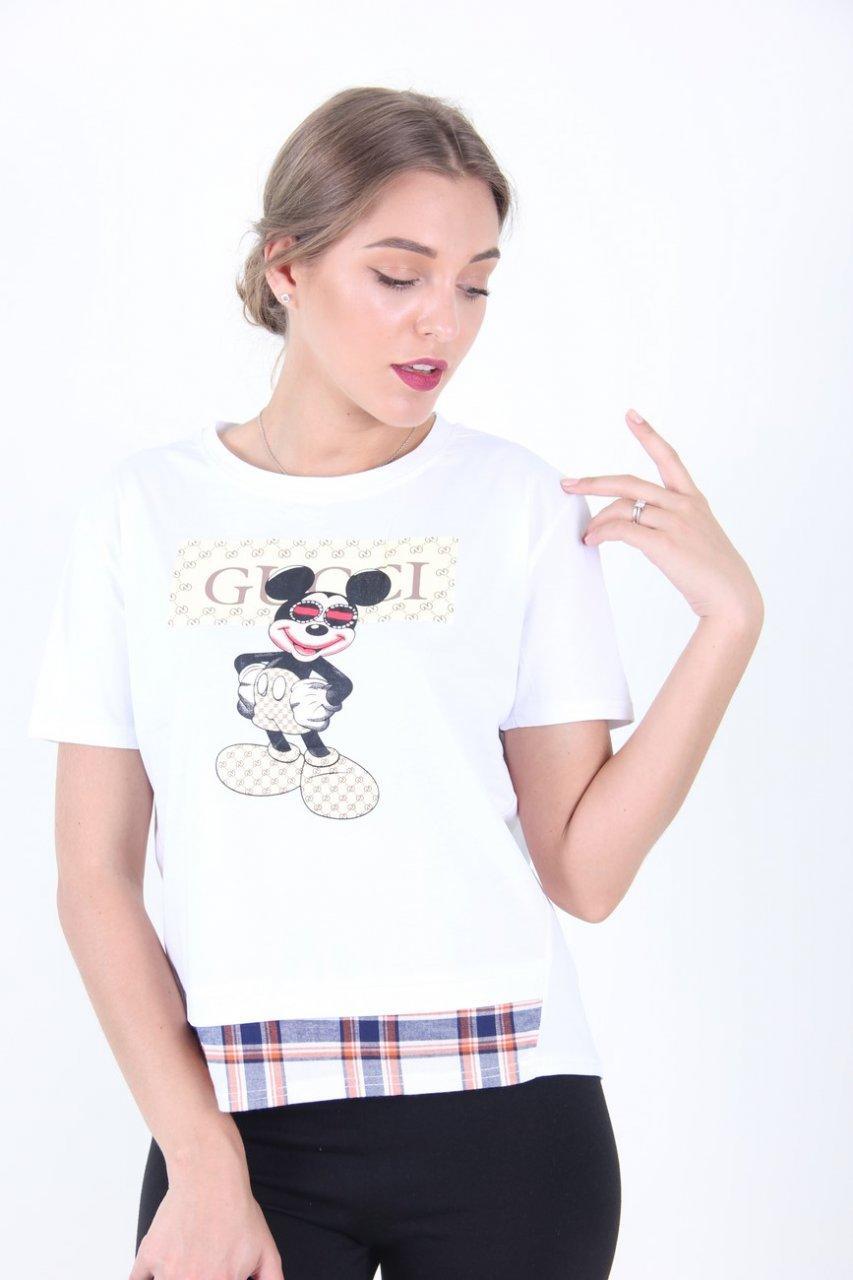 Вільна біла футболка зі вставкою М/Л