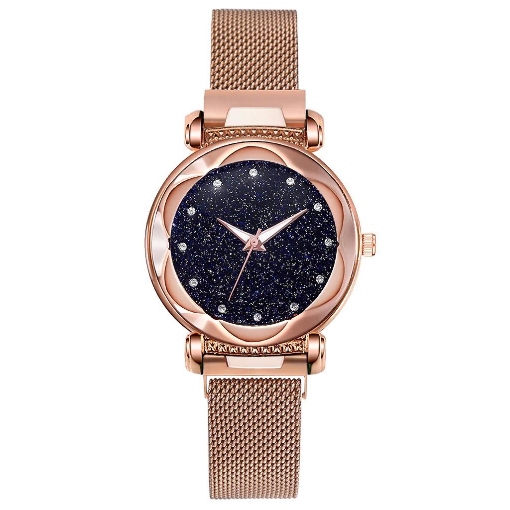 Женские наручные часы на магнитной застежке (золотистый ремешок)
