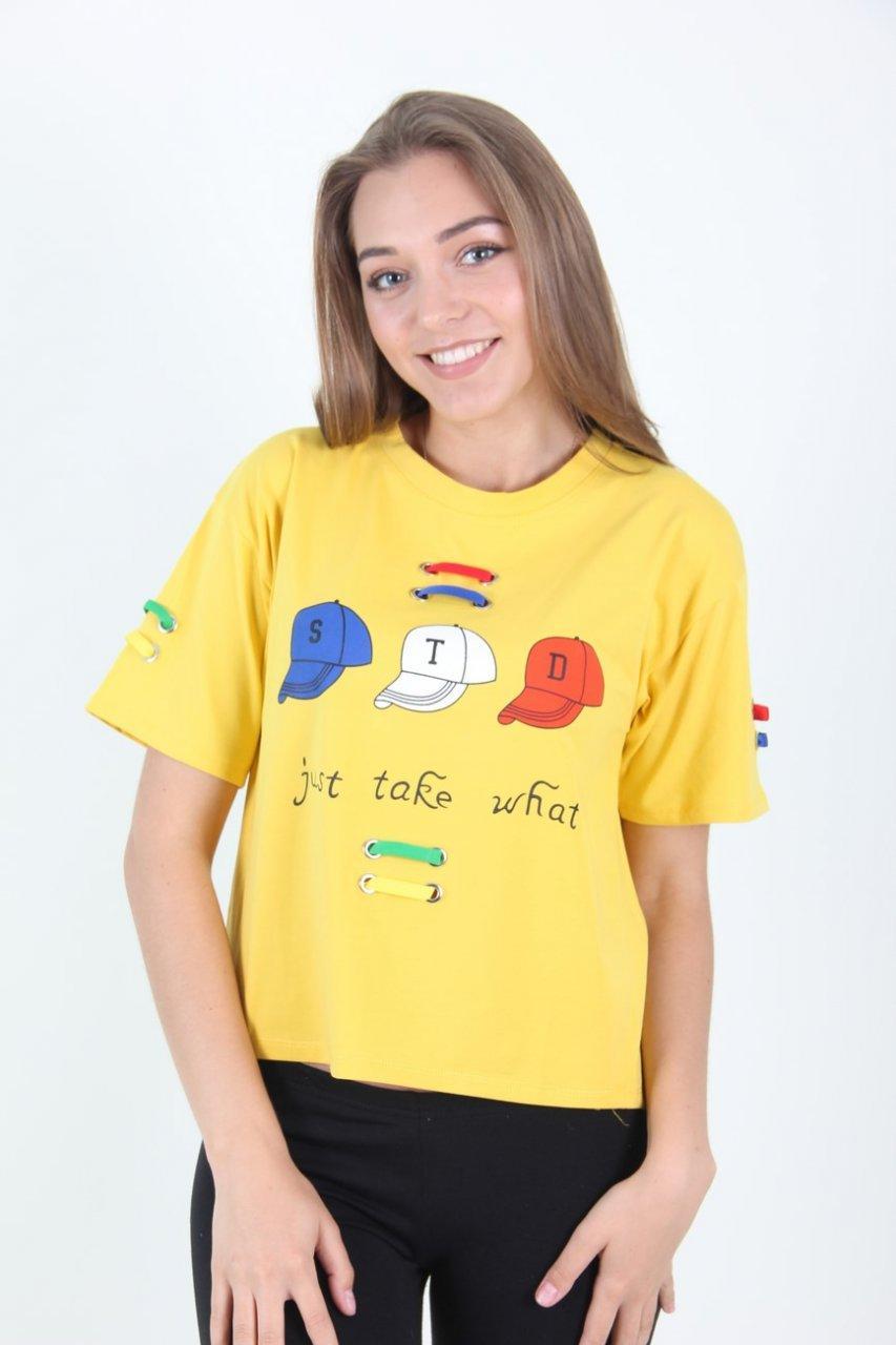 Свободная футболка с широкими рукавами желтая М/Л