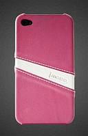 Кожаный чехол-накладка для телефона iMOBO leather back cover for iPhone 4/4S, pink/white (HCIP-15PW)