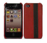Кожаный чехол-накладка для телефона iMOBO leather back cover for iPhone 4/4S, red/black (HCIP-02RB)