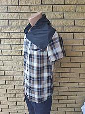 Рубашка мужская летняя коттоновая  брендовая, воротник-хомут высокого качества SCORE, Турция, фото 3
