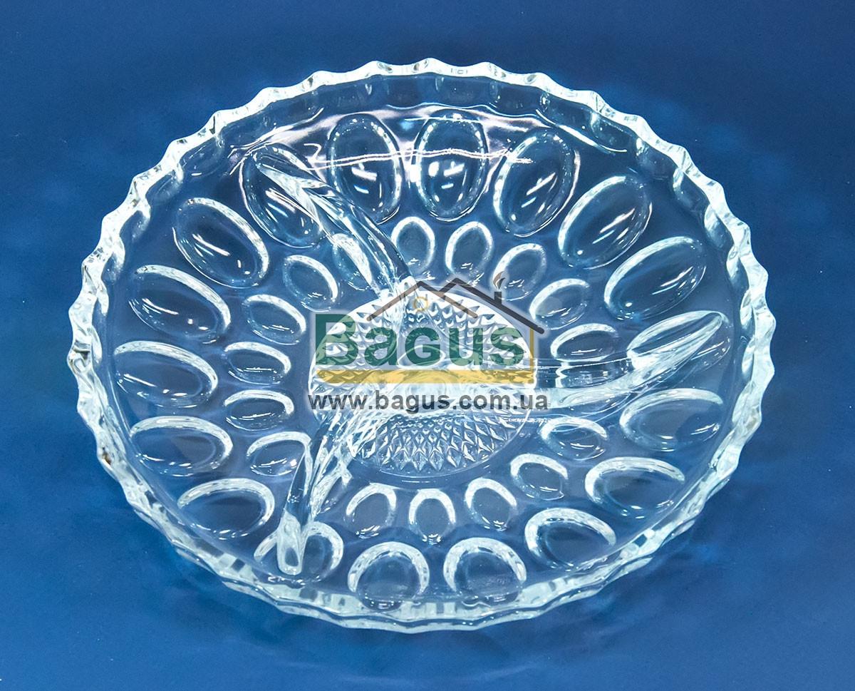 """Скляне Блюдо розділена на 3 секції 22,5 см """"Mina"""" Isfahan Glass (Іран) 743-Mina"""