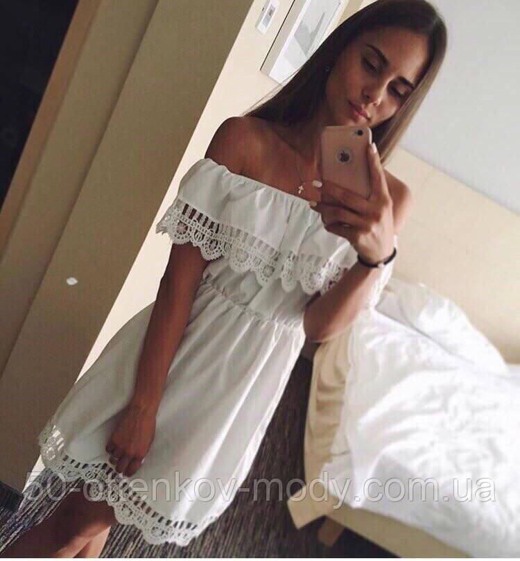 Женское стильное хлопковое платье прошва