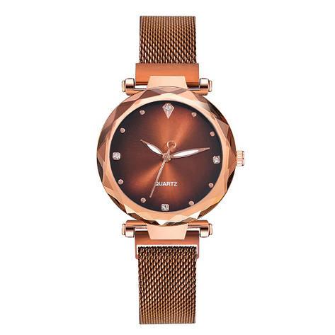Женские наручные часы на магнитной застежке (коричневый ремешок), фото 2