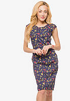 Деловое женское полуприталенное платье с принтом синий 90384/1, фото 1
