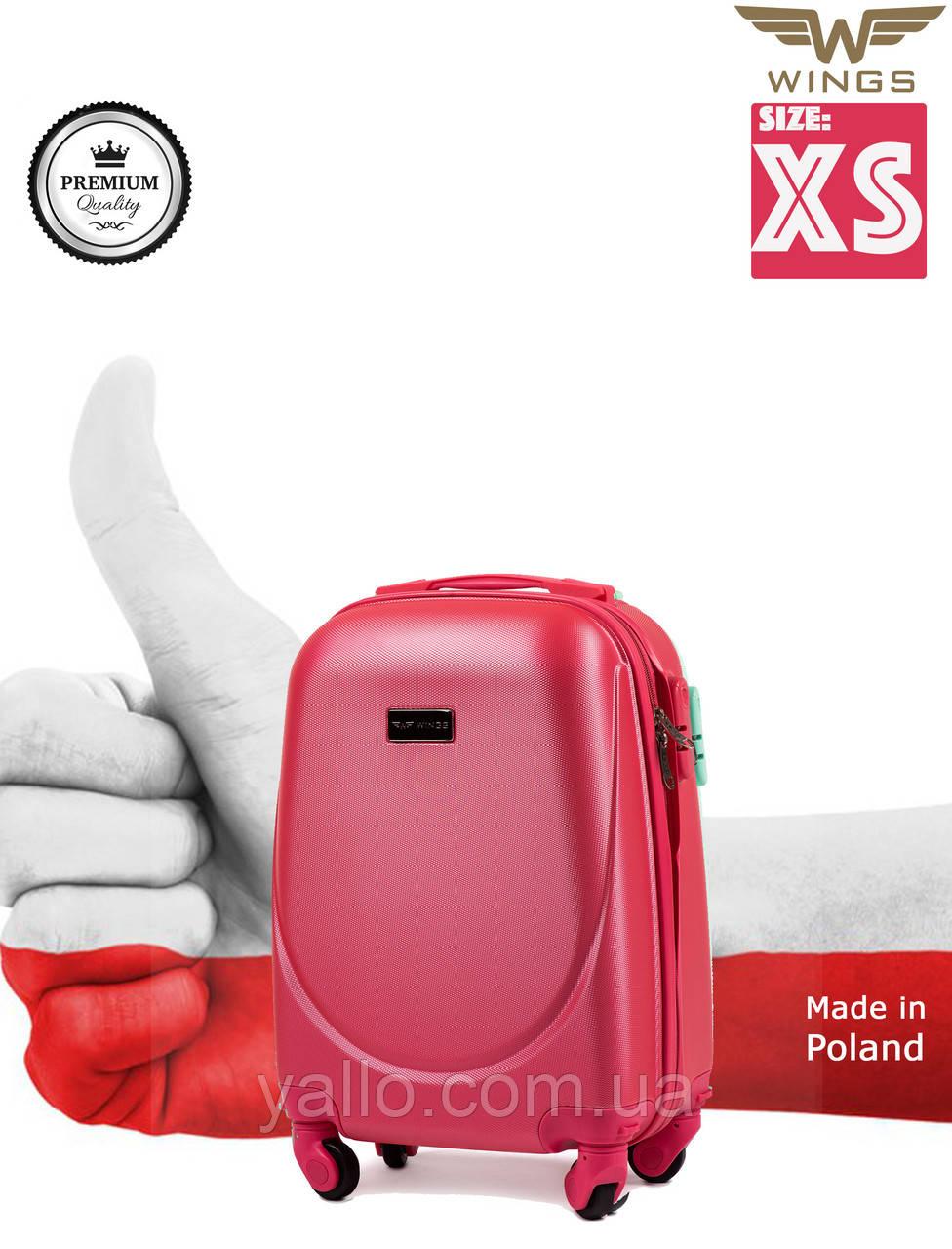 """Чемодан Ударостойкий !Самый Малый пластиковый на четырёх каучуковых колёсах """"WINGS K310 XS"""" Rose-Red"""