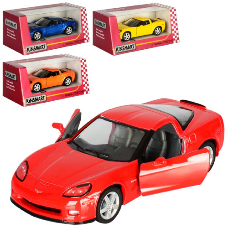 Машинка Chevrolet Corvette Z06 Kinsmart, 1:36, металева, 4 кольори, в коробці, 16-7,5-8 см