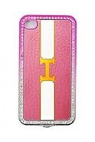 Пластиковый чехол-накладка для телефона Noeson back cover DM-6 for iPhone 4, pink+white