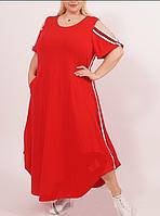 Летнее длинное платье асимметрия, разные расцветки с 48-98 размер, фото 1