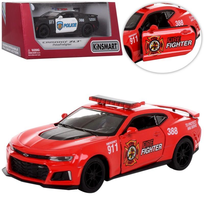 Машинка Kinsmart (1:38) 2017 Chevrolet Camaro ZL1, 2 види (поліція, пожежна), в коробці, 16-8-7,5 см