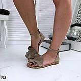 Женские босоножки с рюшами и ремешком из натуральной кожи, фото 5