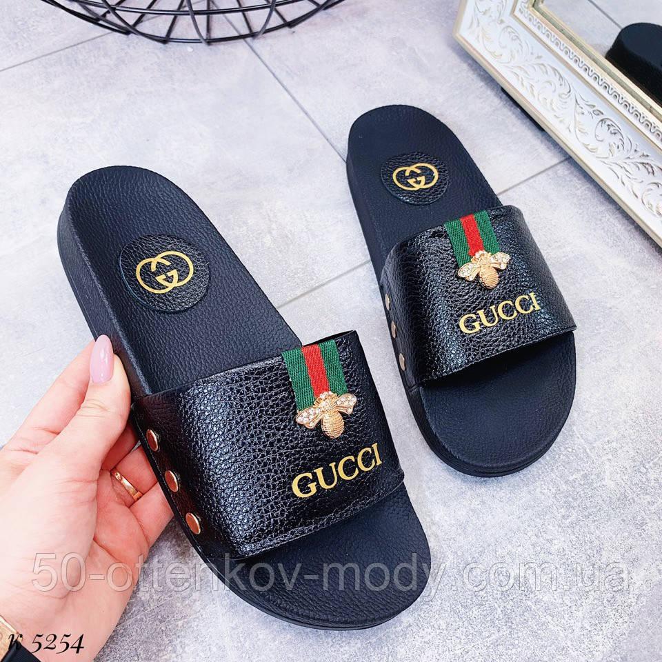 66b368a1b Женские шлепки Gucci из натуральной кожи белые и черные: продажа ...