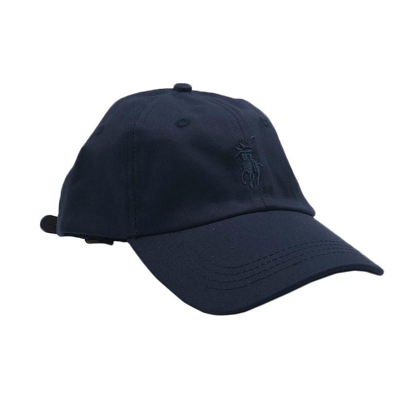 Бейсболка МК-1076 кожаный ремешок темно-синий ,темно-синий лого