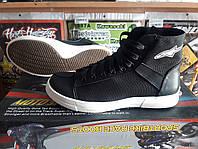 Мото обувь кеды Альпинстар, черные с белой подошвой
