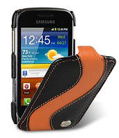 Чехол-книжка для телефона Melkco Jacka special leather case for Samsung S6500 Galaxy Mini 2, black/orange (SSGM65LCJS1BKOELC)