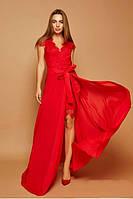 Вечернее красное кружевное платье-трансформер с шифоновой юбкой (S)